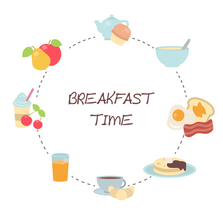Vector breakfast concept with food and drinks. Breakfast design set. Breakfast time.