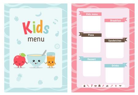 Kids menu card with cartoon food and. Cute colorful kids meal restaurant menu vector template.
