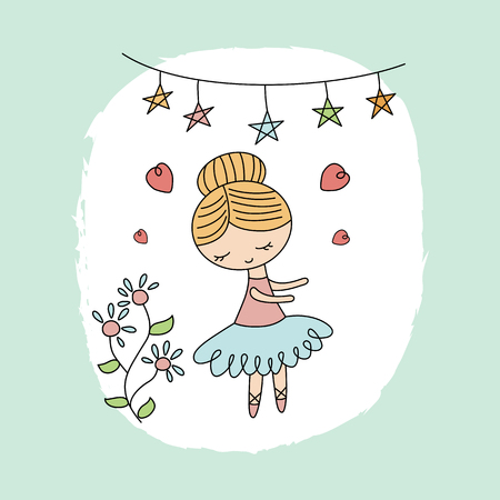Cute ballerina girl. Greeting card with cartoon ballerina girl.
