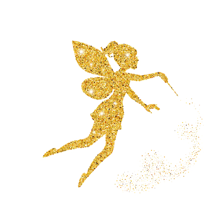 Magiczna czarodziejka z pyłem błyszczy na białym tle.