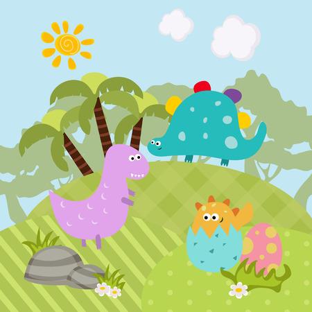 Cartoon groep van dinosaurussen. Vectorillustratie met prehistorische dieren in het wild. Stock Illustratie