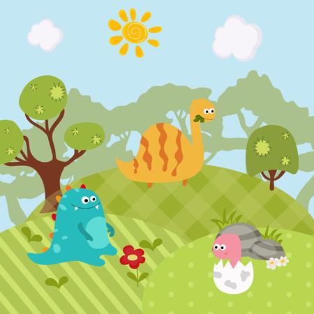 Cartoon group of dinosaur. Vector illustration with prehistoric wildlife.