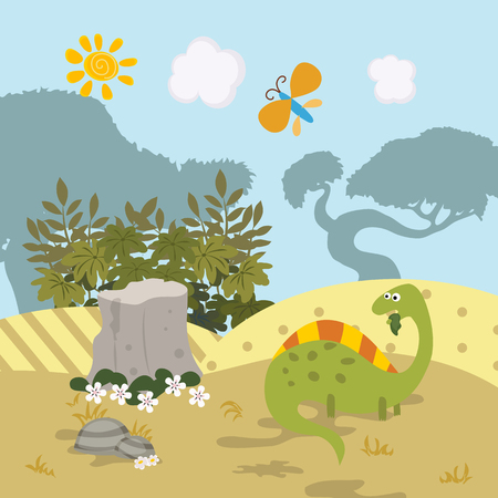 paleontology: Cartoon group of dinosaur. Vector illustration with prehistoric wildlife.