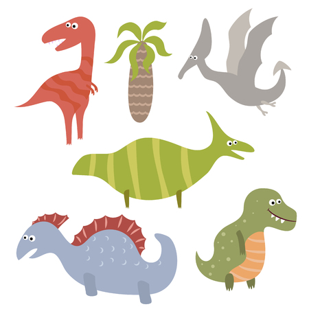 Set of different dinosaurs on white background. Vector illustration with prehistoric wildlife.