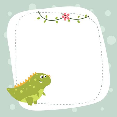 Greeting card with cartoon dinosaur. Vector background.
