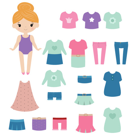 Paper doll with clothing set on white background. Иллюстрация