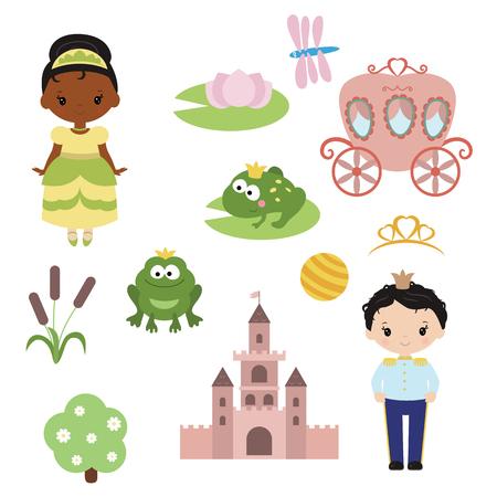 Cute beautiful princess. Princess theme with castle, frog prince, carriage
