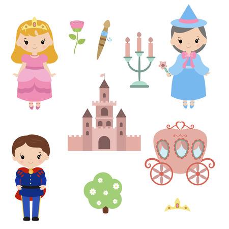Cute beautiful princess. Sleeping beauty princess. Princess theme with castle, prince, carriage.