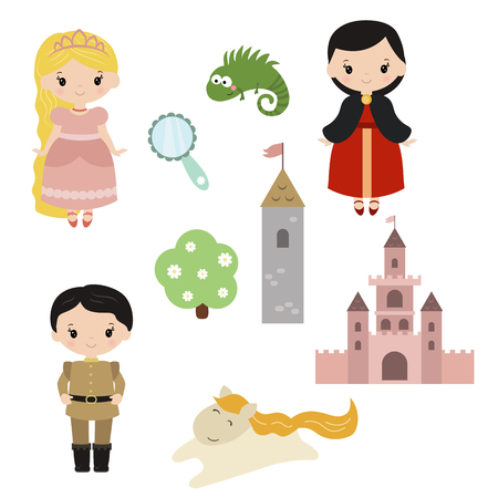 baby girls smiley face: Cute beautiful princess. Princess Rapunzel. Princess theme with castle, prince, carriage. Illustration