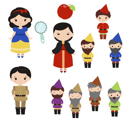Cute beautiful princess. Snow white and the seven dwarfs. Illustration