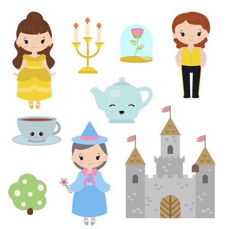 Cute beautiful princess. Beauty and the beast. Princess theme with castle, prince, fairy.