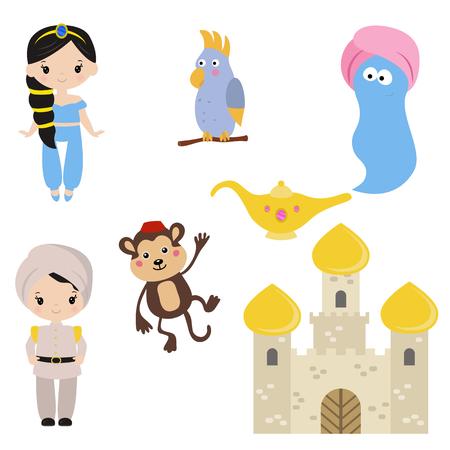 Cute beautiful princess. Arabian fairy tale. Princess theme with castle and prince.
