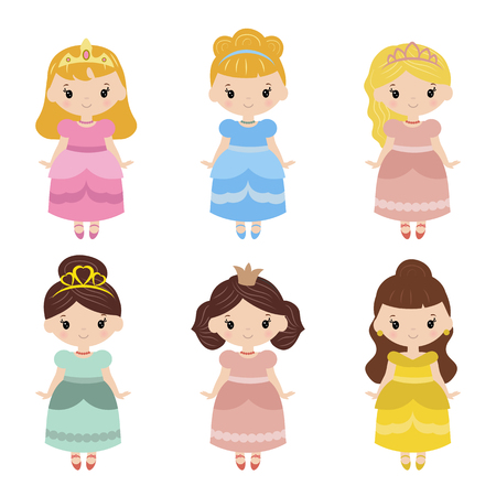 period costume: Cute collection of beautiful princesses. White background.