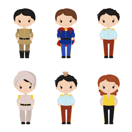 Collection of cute princes on white background.