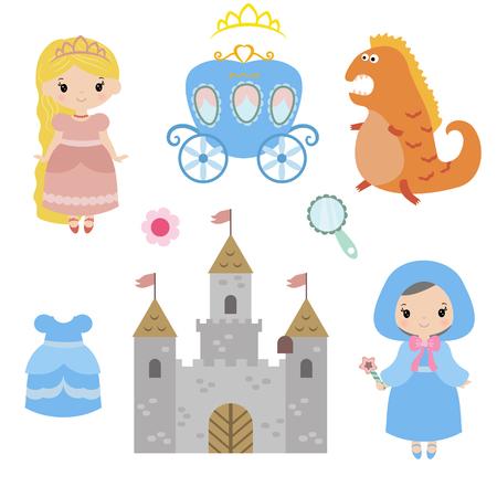 Little princesses set. Princess and Fairy Items. Illustration