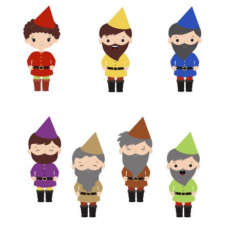 Set of cartoon happy dwarf on white background.