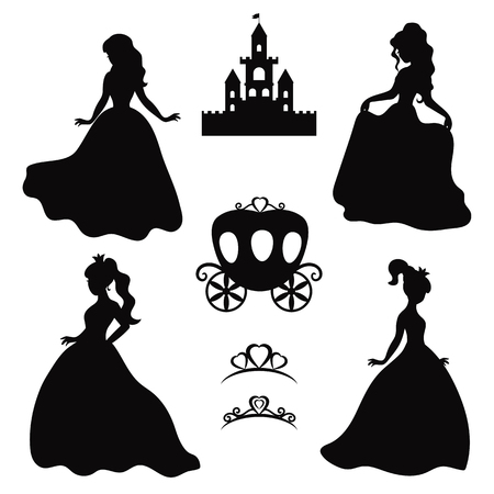 Set of silhouettes of princess on white background.