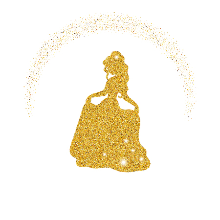 Princess with dust glitters on white background.