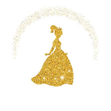 Prinses met stof glitters op witte achtergrond. Stock Illustratie