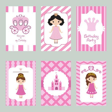 Set of beautiful birthday invitation cards decorated with cartoon princesses. Illustration