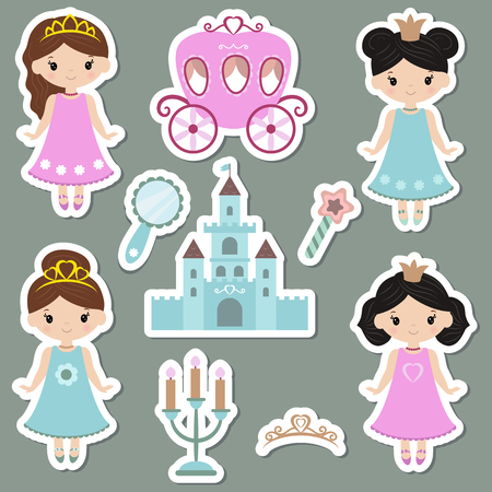 Cute collection of beautiful princess stickers. Princess theme with castle, crown, carriage. Illustration