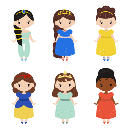 Cute collection of beautiful princesses with dust glitters. White background.
