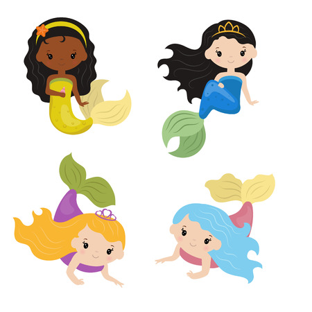 Vector set of cute girl mermaids on white background. Mermaids made in cartoon style. Illustration