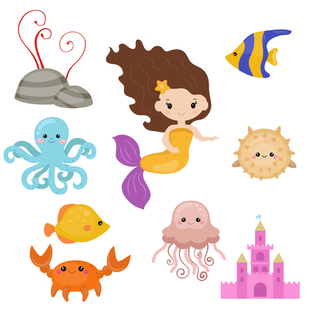 Cute girl mermaid on white background. Mermaid and sea animals made in cartoon style.