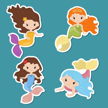 Set of cute girl mermaids stickers. Mermaids made in cartoon style.