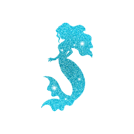 Silhouette of mermaid with dust glitters. White background. Ilustrace