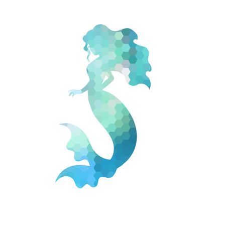 Silhouette of mermaid. White background. Vector illustration. Çizim