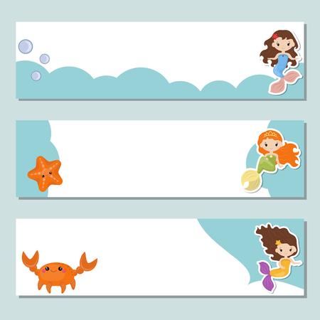 Set of three horizontal banners with cute girl mermaids. Vettoriali