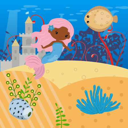 Underwater world with mermaid and sea creatures.