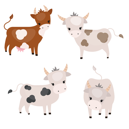 Vector set of cute cows on white background. Cows made in cartoon style. Illustration