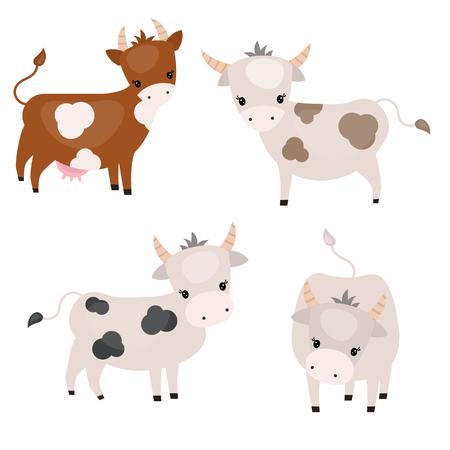 Vectorreeks leuke koeien op witte achtergrond. Koeien gemaakt in cartoon-stijl.