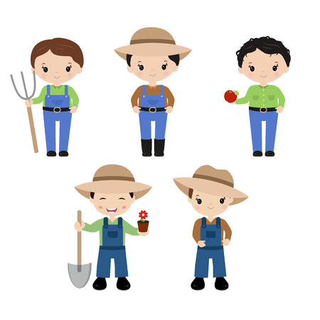 Set of farmers on white background. Farmers made in cartoon style. Illustration