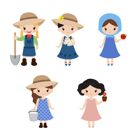 Set of farmer girls on white background. Farmers girls made in cartoon style.