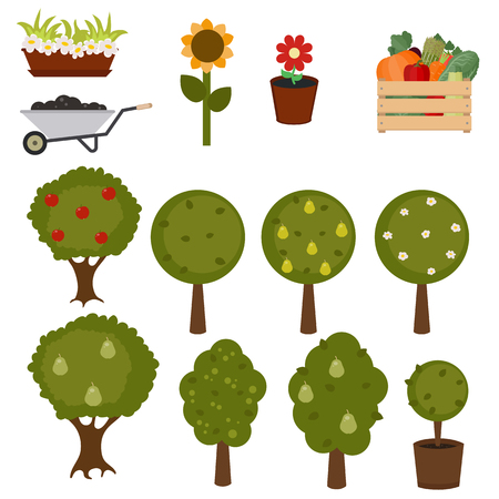 Set of trees and gardening icons on white background.