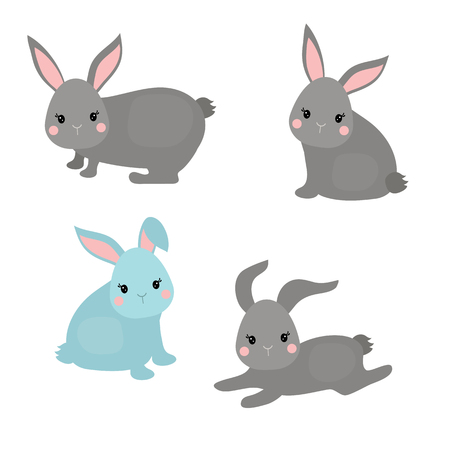 Vector set of cute rabbits on white background. Rabbits made in cartoon style.