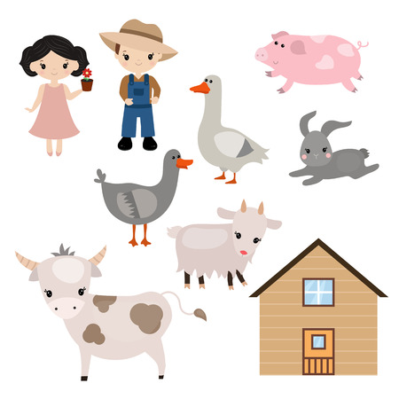 Farmer girl and boy on white background. Set of farm animals.