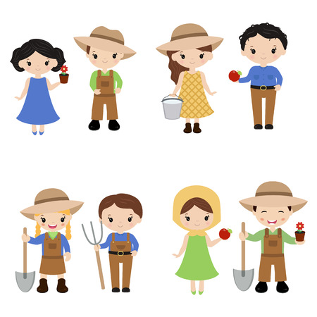 Set of farmer girls and boys on white background. Farmers girls and boys made in cartoon style.