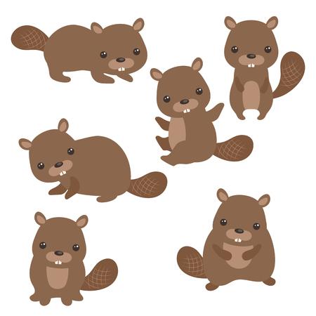 Set of cute beavers on white background. Ilustrace