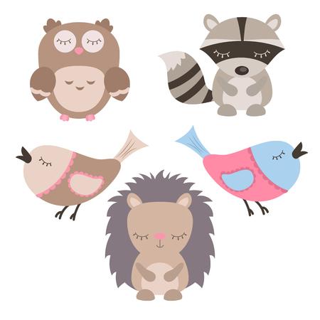 Set of cute animals on white background. Illustration