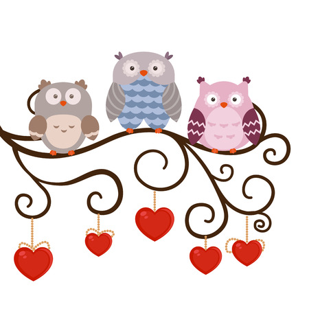 Illustration with cartoon owl sitting on the branch.