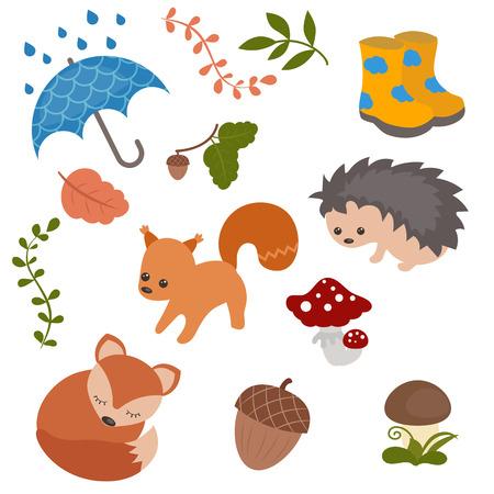 cartoon umbrella: Set of cartoon characters and autumn elements Illustration