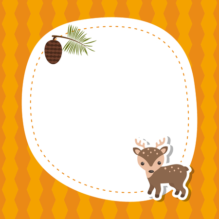 Greeting card with cute deer. Vector background.