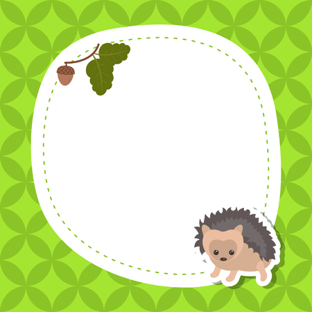 postcard background: Greeting card with cute hedgehog. Vector background.