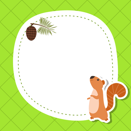 Greeting card with cute squirrel. Vector background.