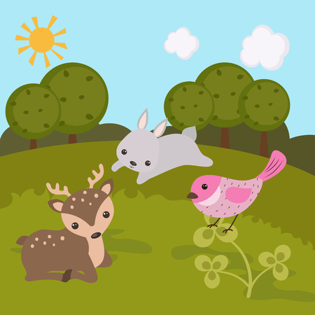 Cartoon landscape with forest animals. Forest landscape.