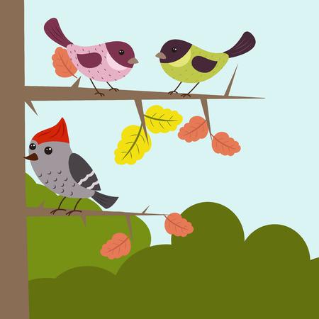 springtime background: Cartoon landscape with forest animals. Forest landscape.
